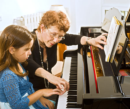 Piano teacher, teaching student